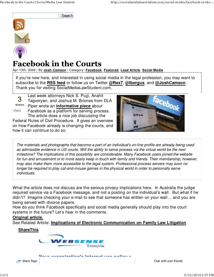 Facebook in the courts