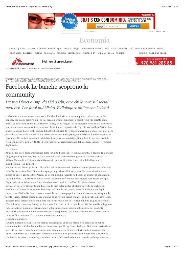 Facebook le banche scoprono la community