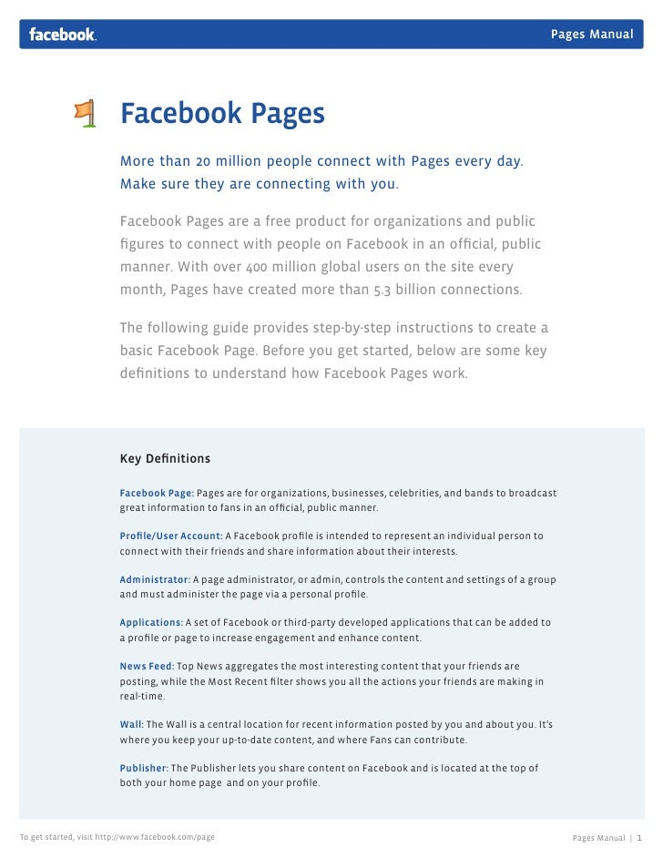Pages Manual                              Facebook Pages                          More than 20 million people connect with...