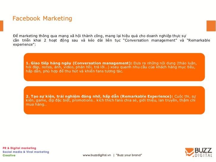 Facebook MarketingĐể marketing thông qua mạng xã hội thành công, mang lại hiệu quả cho doanh nghiệp thực sựcần triển khai ...