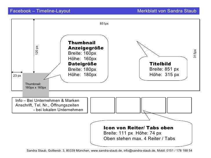 Facebook – Timeline-Layout                                                         Merkblatt von Sandra Staub             ...
