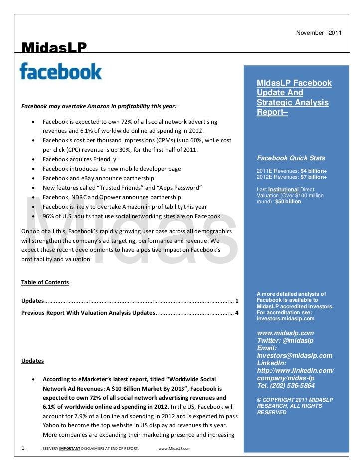 Facebook Strategic Insights Report And Valuation Primer - November 2011 - MidasLP.com