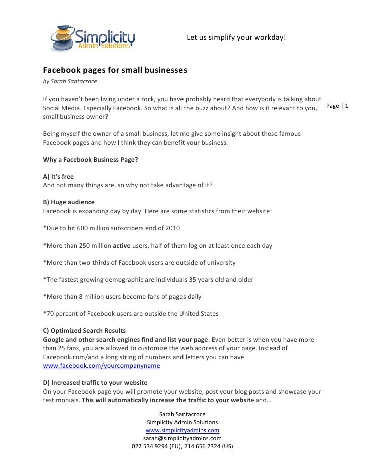 Facebook pages for small businesses