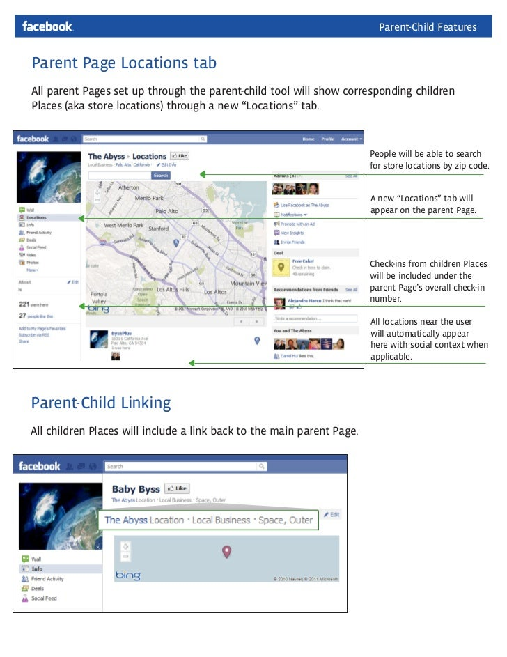 Facebook Places: Parent Location Tab