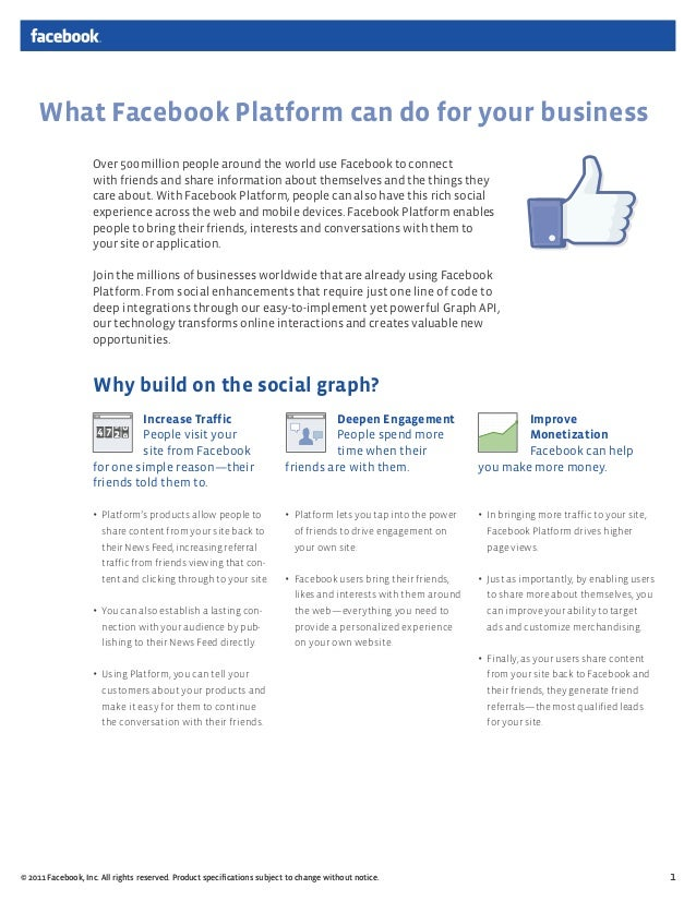 What Facebook Platform can do for your business                   Over 500 million people around the world use Facebook to...