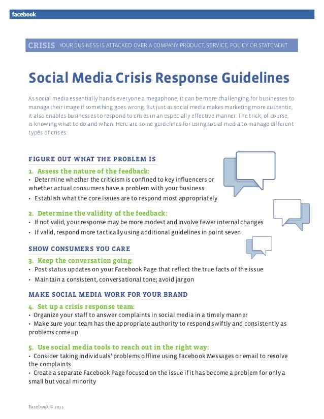 Guida do Facebook para gerenciamento de crise nas mídias sociais