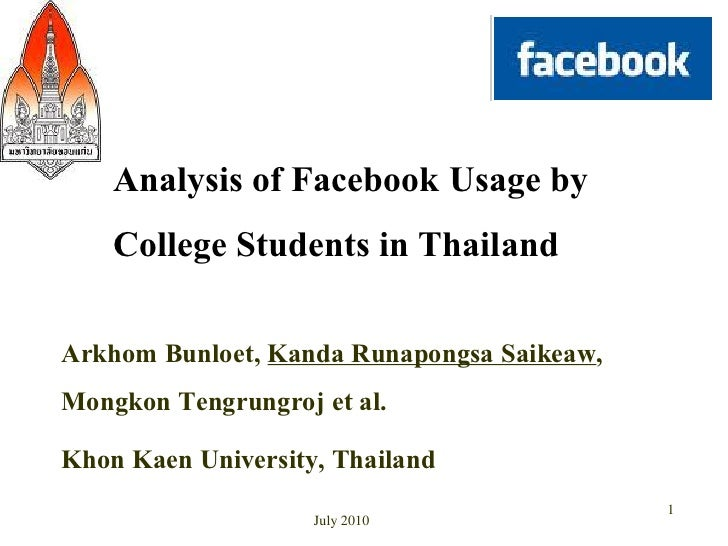 Analysis of Facebook Usage by College Students in Thailand