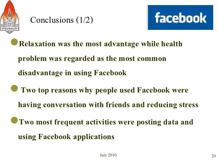 conclusion about facebook Introduction: we are living in the golden age of technology day by day technology is going to be more important in human life every aspect of.