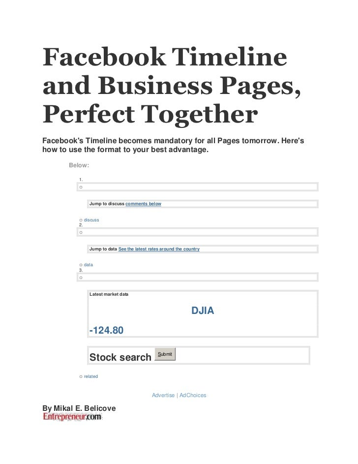 Facebook Timelineand Business Pages,Perfect TogetherFacebooks Timeline becomes mandatory for all Pages tomorrow. Hereshow ...
