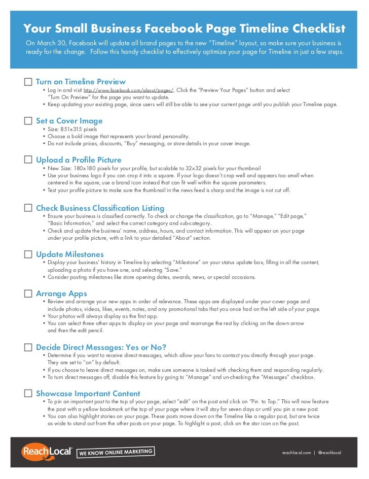 """Your Small Business Facebook Page Timeline ChecklistOn March 30, Facebook will update all brand pages to the new """"Timeline..."""