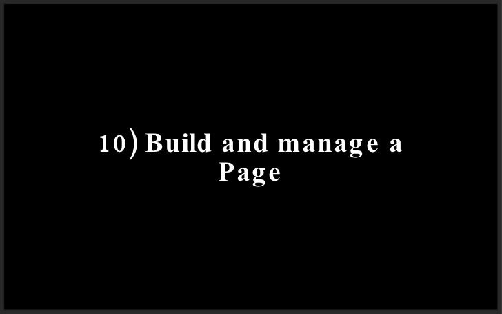 10) Build and manage a Page