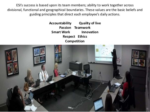 ESI's success is based upon its team members; ability to work together acrossdivisional, functional and geographical bound...