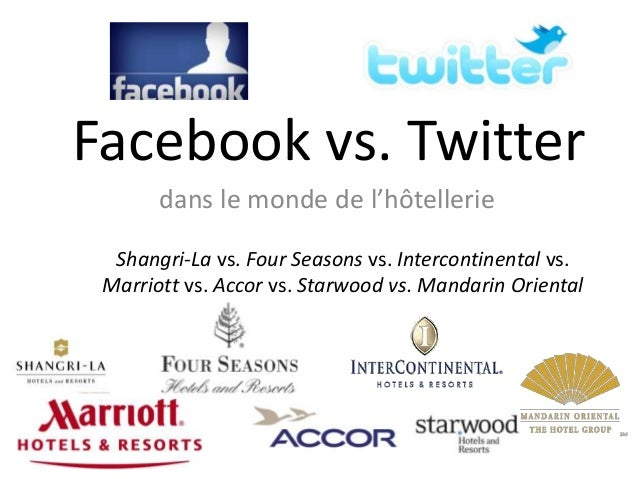 Facebook vs. Twitter       dans le monde de l'hôtellerie  Shangri-La vs. Four Seasons vs. Intercontinental vs. Marriott vs...