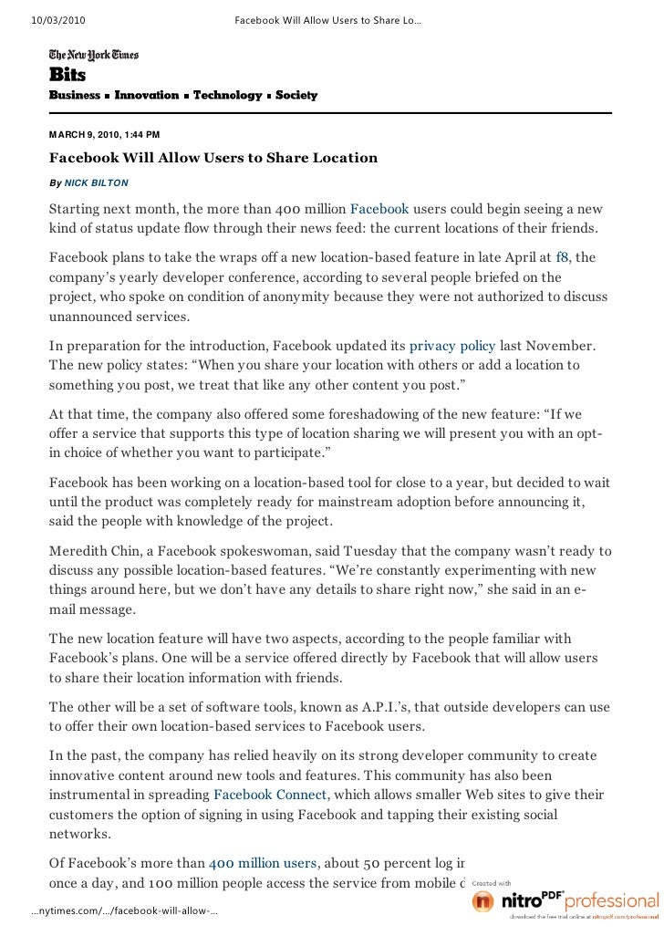 Facebook Will Allow Users To Share Location   Bits Blog   Ny Times