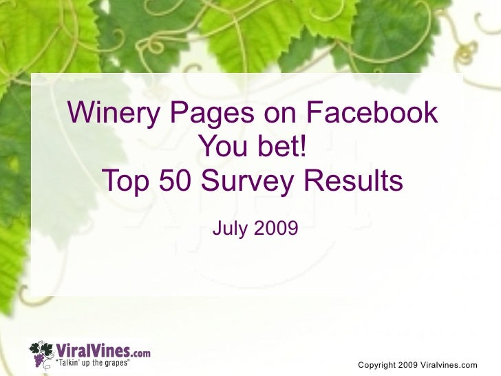Winery Pages on Facebook          You bet!   Top 50 Survey Results          July 2009                          Copyright 2...