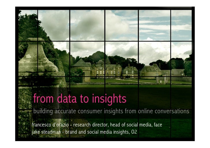 From Data to Insights: how to build accurate customer insights from online conversations (Face / O2 UK Ca