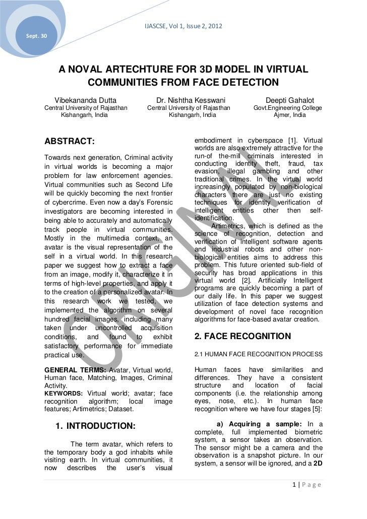 IJASCSE, Vol 1, Issue 2, 2012Sept. 30            A NOVAL ARTECHTURE FOR 3D MODEL IN VIRTUAL                 COMMUNITIES FR...