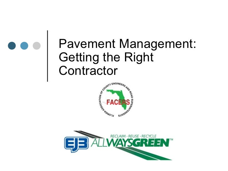 Pavement Management: Getting the Right Contractor