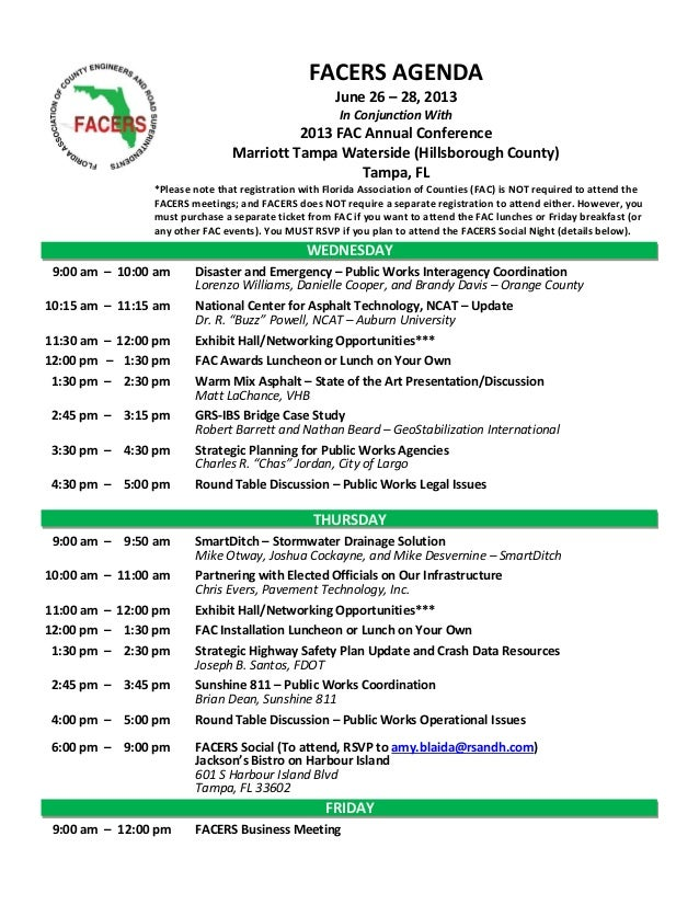 FACERS Annual Meeting Agenda- June 2013