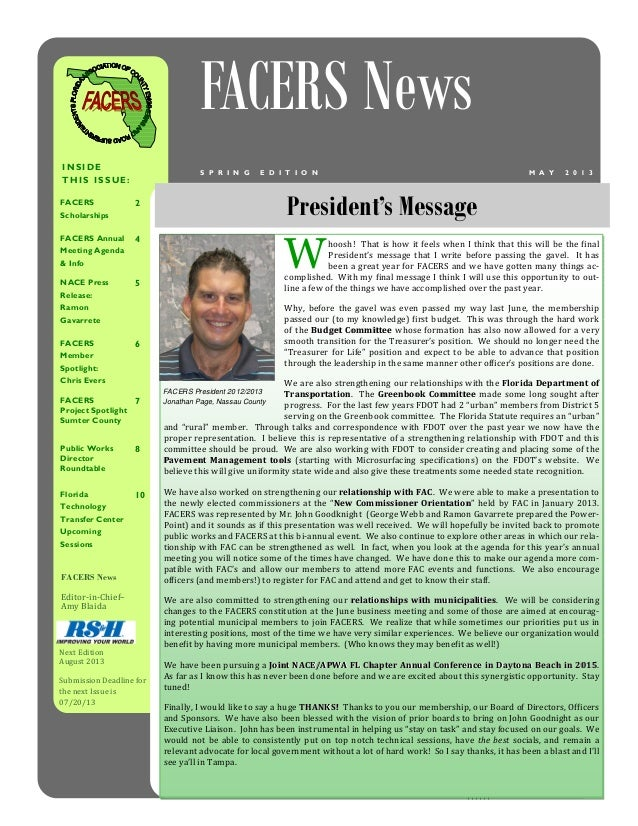 FACERS News 2013 Spring