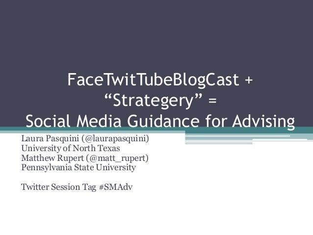 """FaceTwitTubeBlogCast + """"Strategery"""" = Social Media Guidance for Advising Laura Pasquini (@laurapasquini) University of Nor..."""