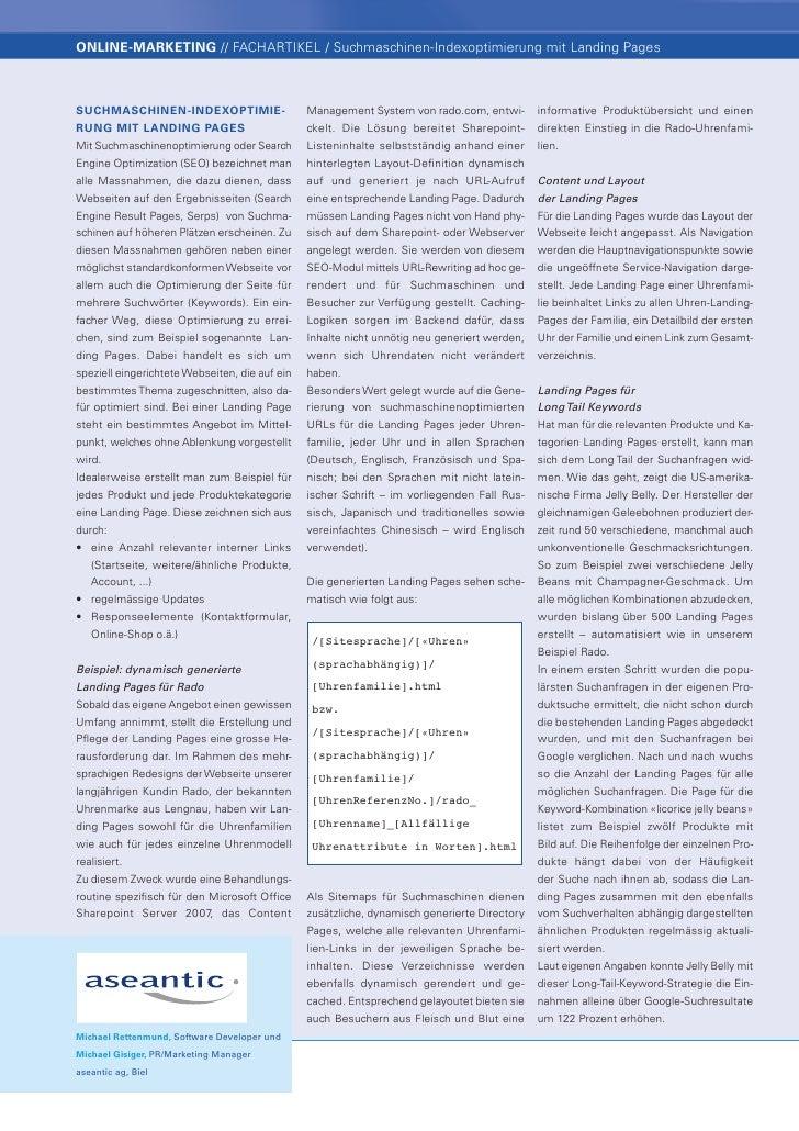 onLine-marketing // FACHARTIKEL / Suchmaschinen-Indexoptimierung mit Landing PagesSuchmaSchinen-indexoptimie-             ...