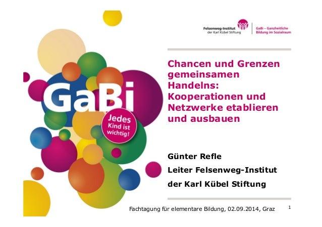 Chancen und Grenzen  gemeinsamen  Handelns:  Kooperationen und  Netzwerke etablieren  und ausbauen  Günter Refle  Leiter F...