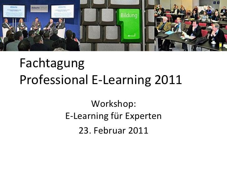 FachtagungProfessional E-Learning 2011             Workshop:       E-Learning für Experten          23. Februar 2011