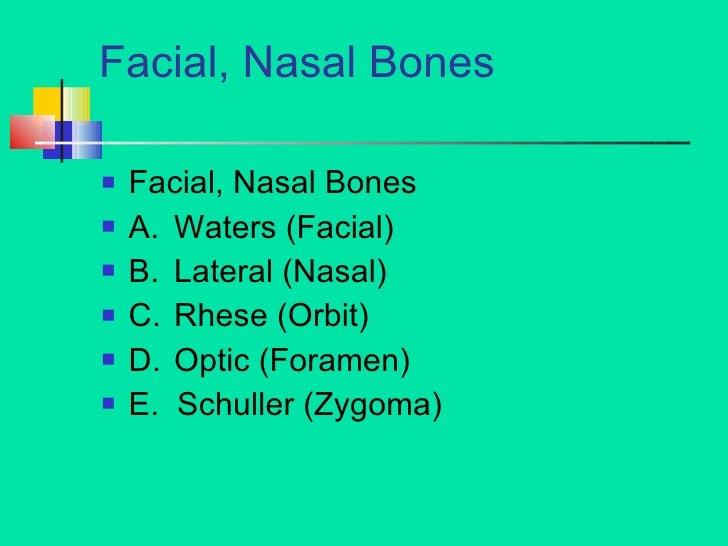 Facial, Nasal Bones <ul><li>Facial, Nasal Bones </li></ul><ul><li>A. Waters (Facial) </li></ul><ul><li>B. Lateral (Nasal) ...