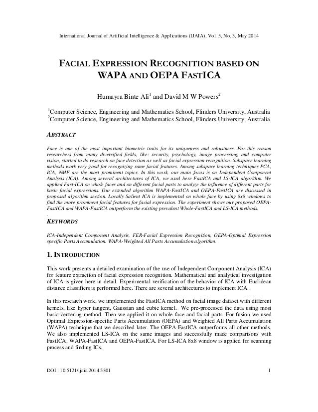 Facial expression recognition based on wapa and oepa fastica