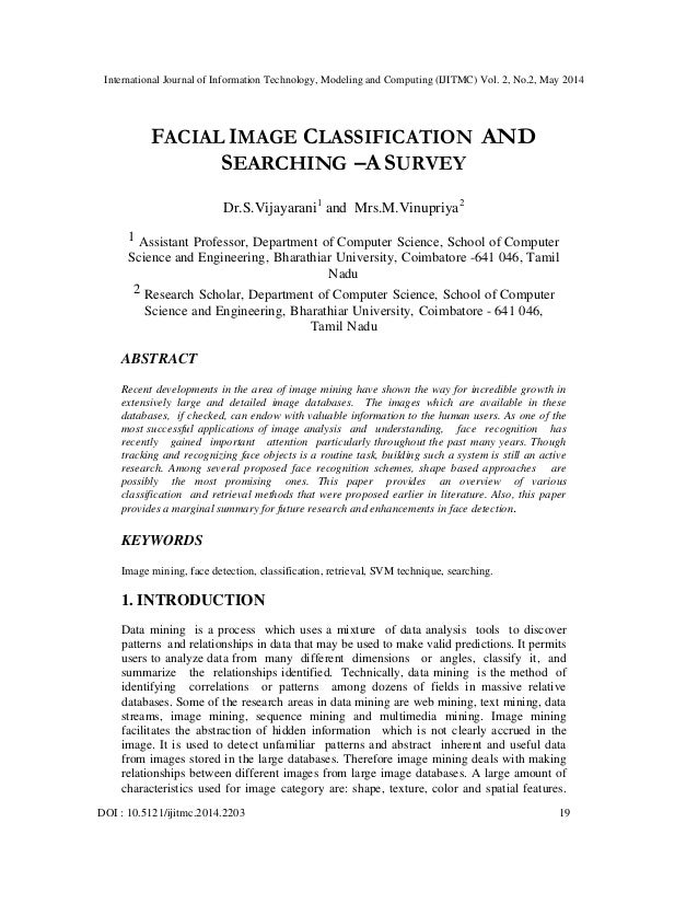 Facial image classification and searching –a survey