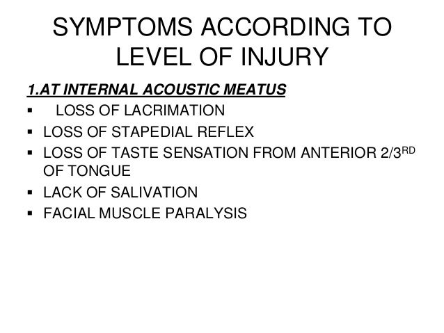 SYMPTOMS ACCORDING TOLEVEL OF INJURY1.AT INTERNAL ACOUSTIC MEATUS LOSS OF LACRIMATION LOSS OF STAPEDIAL REFLEX LOSS OF ...