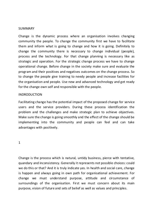 Facilitating change in health and social care