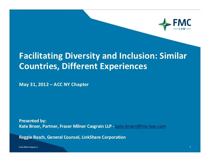 Facilitating Diversity and Inclusion: Similar Countries, Different Experiences May 31, 2012 – ACC NY ChapterPresented by: ...