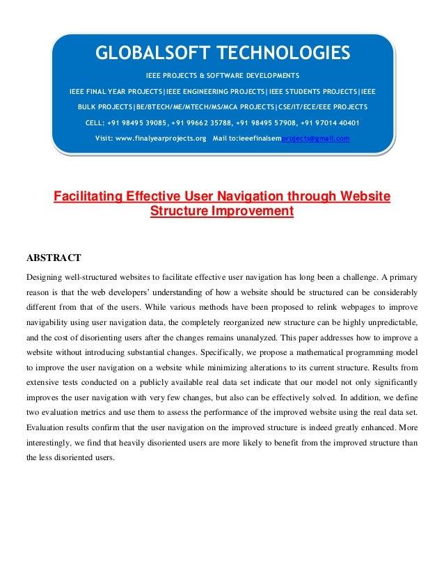 JAVA 2013 IEEE DATAMINING PROJECT Facilitating effective user navigation through
