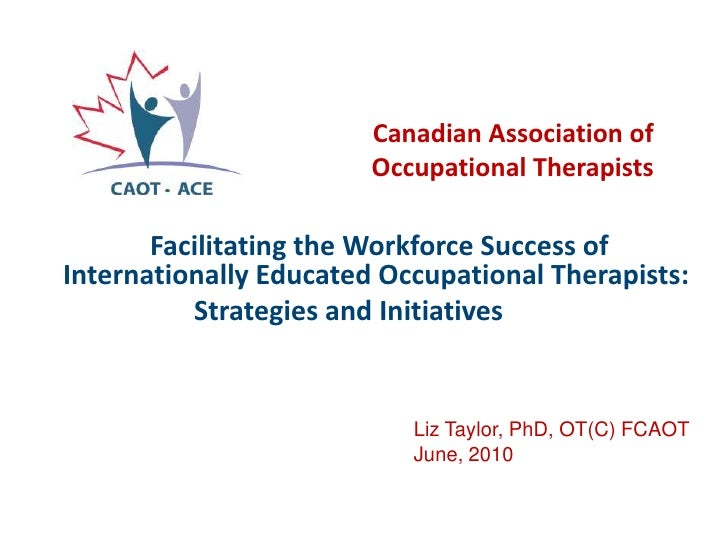 Facilitating the workforce success of internationally educated occupational therapists