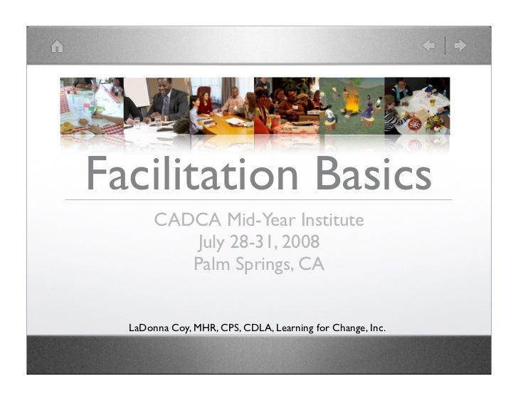 Facilitation Basics        CADCA Mid-Year Institute            July 28-31, 2008           Palm Springs, CA     LaDonna Coy...