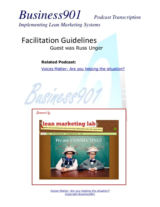 Facilitation Guidelines by Unger