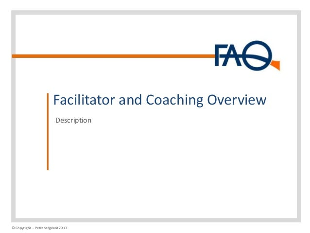 Facilitator and Coaching Overview Description  © Copyright - Peter Sergeant 2013