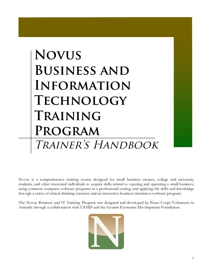 Novus         Business and         Information         Technology         Training         Program         Trainer's Handb...