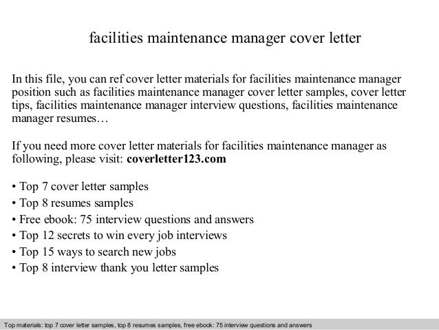 building maintenance supervisor cover letter A maintenance manager cover letter sample is offered as an example of one you could write when you are looking for work maintaining factory equipment and machines.