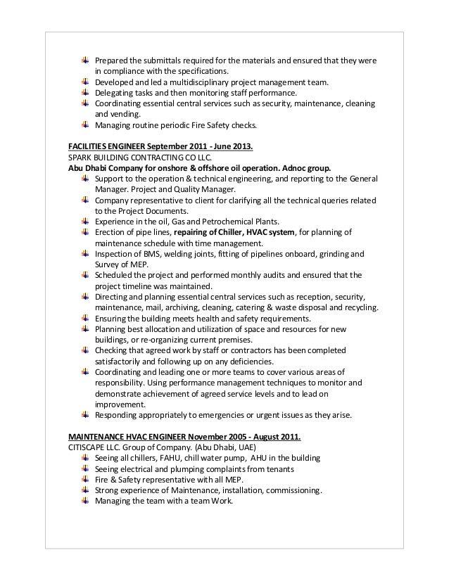 facilities maintenance manager resume