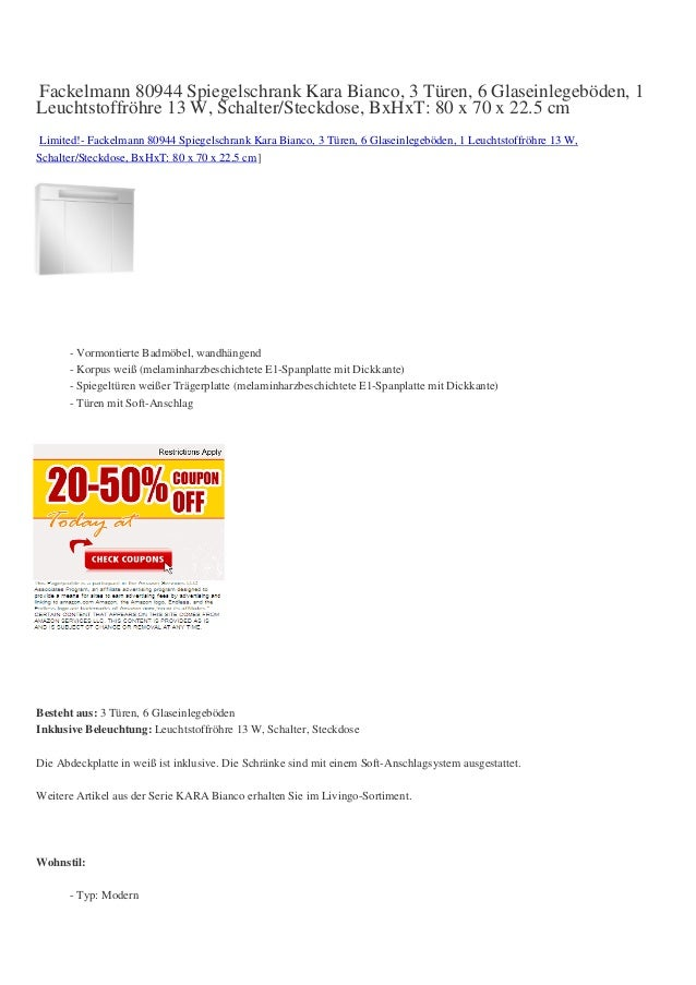 Fackelmann 80944 Spiegelschrank Kara Bianco, 3 Türen, 6 Glaseinlegeböden, 1Leuchtstoffröhre 13 W, Schalter/Steckdose, BxHx...