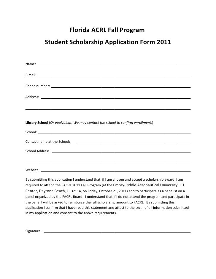Florida ACRL Fall Program             Student Scholarship Application Form 2011Name:E-mail:Phone number:Address:Library Sc...