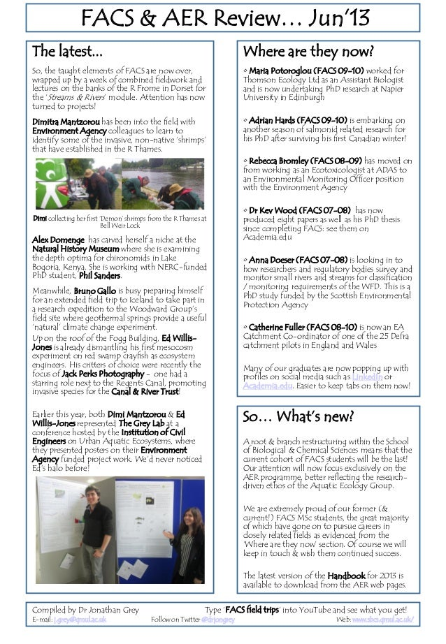 Latest news from the aquatic MSc cohort at QMUL June 2013
