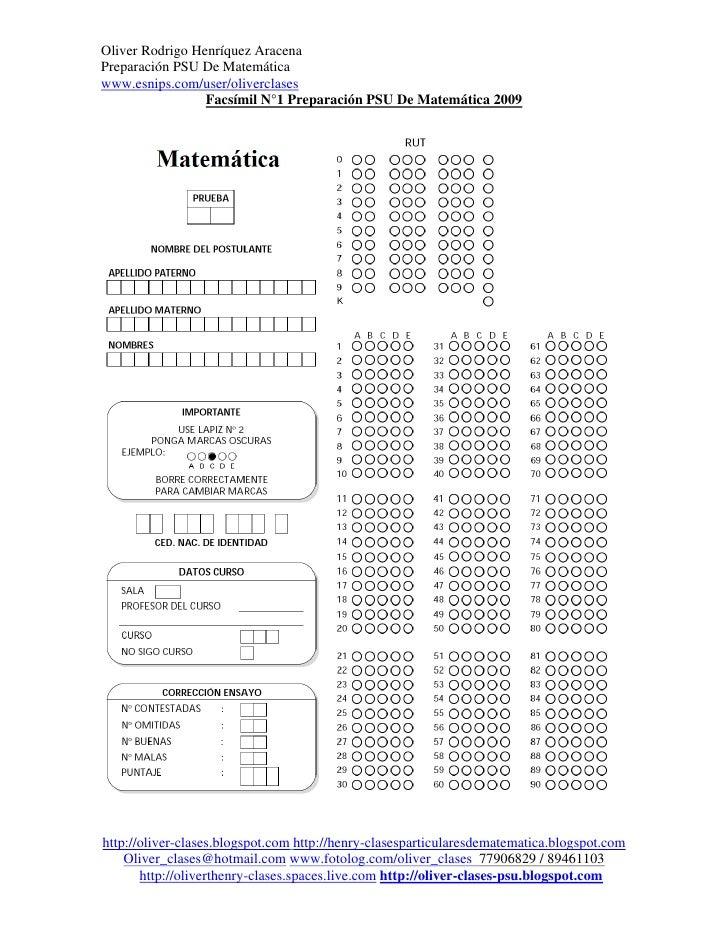 Oliver Rodrigo Henríquez AracenaPreparación PSU De Matemáticawww.esnips.com/user/oliverclases                 Facsímil N°1...