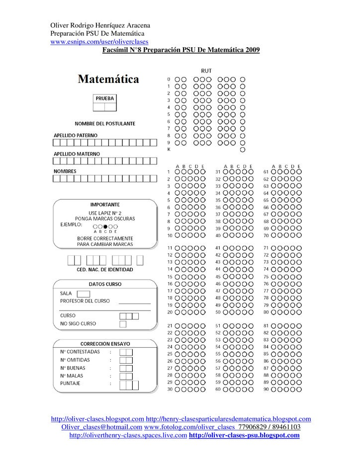 Oliver Rodrigo Henríquez AracenaPreparación PSU De Matemáticawww.esnips.com/user/oliverclases                 Facsímil N°8...