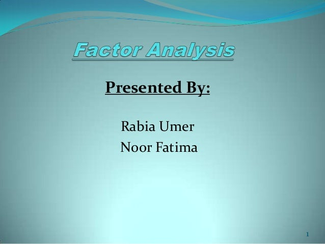 Factor Analysis in Research