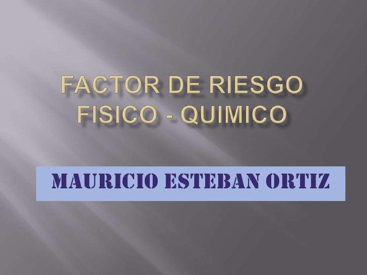 FACTOR DE RIESGO FISICO - QUIMICO<br />MAURICIO ESTEBAN ORTIZ<br />