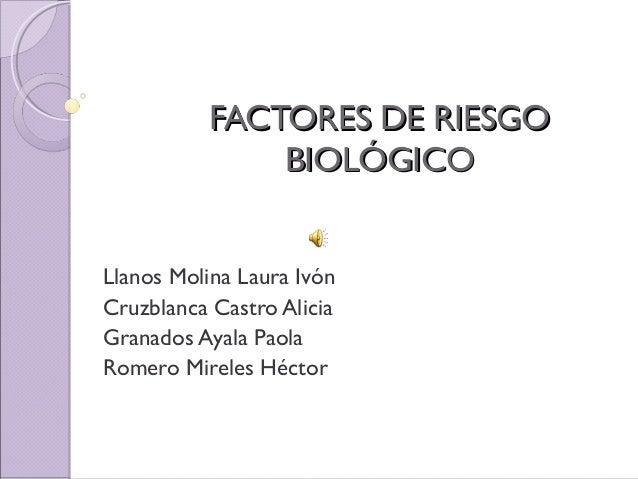 FACTORES DE RIESGOFACTORES DE RIESGO BIOLÓGICOBIOLÓGICO Llanos Molina Laura Ivón Cruzblanca Castro Alicia Granados Ayala P...